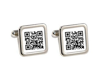 Personalised Secret Message QR Code Cufflinks - Personalised Engraved Gift Box Available
