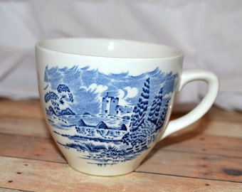 """Enoch Wedgwood """"Countryside"""" blue and white teacup"""