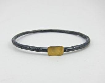 blackened silver and gold bracelet, bangle bracelet, mixed metal bracelet