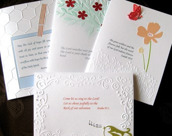 Christian card set, religious notecards, handembossed  christian stationery with bible verses, hostess  gift.