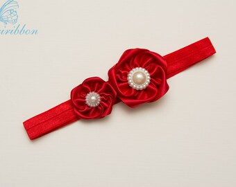 red ribbon flowers Headband - baby girl headband - adult headband - infant headband - Newborn Headband -hair accessories 100