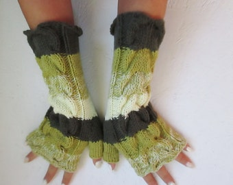 BLACK FRIDAY SALE! Fingerless gloves, Knitted  Fingerless long fingerless with Cable, Woman   Arm Warmers, winter accessory