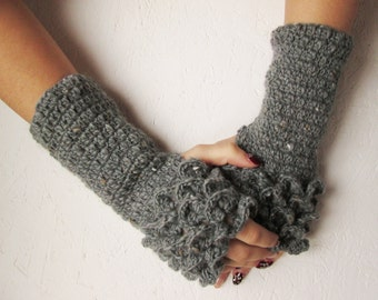 dragon scales gloves Fingerless Gloves, dragon scales women fingerless winter gloves  Gloves Crocheted Arm Warmers gray Accessory