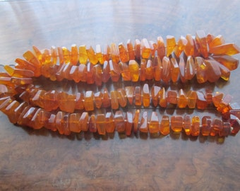 Long Amber Necklace. Gorgeous, Rectangular, Natural Amber, Graded and Hand Knotted.