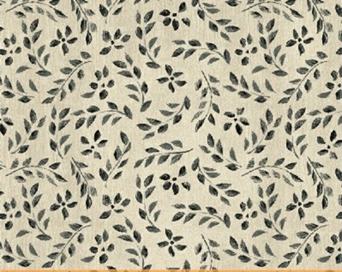 One Yard Farm Chic - Mini Leaf in Black - Cotton Quilt Fabric - by Kate McRostie for Windham Fabrics (W2212)