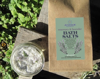 Rosemary Lavender Bath Salts, organic, detoxifying, trending, pain relief, skin care, joint pain, aromatherapy, personalized, herbal