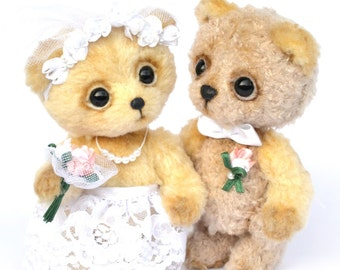 Artist bears, bridal pair, artist teddy bears, bride and groom, ooak, handmade bears, engaged couple, teddies, artist bears