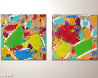 """Abstract fine art, two-part canvas painting """"Colorful world""""- abstract multicolor wall hanging 32x16 inches. With acrylics, already streched"""