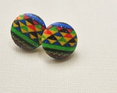 Kwanzaa Button Earrings , Fabric Button Earrings, African Earrings, Holiday Earrings,Tribal Earrings, African Jewelry