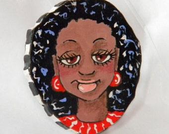 Girl Art Pin Brooch handmade handpainted polymer clay PN1 by ArtQwerks~ArtCirque