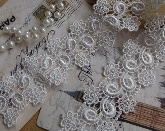 "Retro Venice Lace Trim White Floral Embroidery Lace 1.38"" wide 2 Yards"