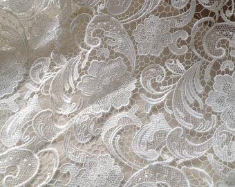 White Venice Lace Fabric, Graceful Hollow Flower Fabric, Bridal Dress Fabric Half Yard