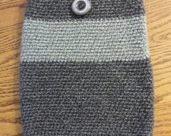 handmade crochet knit ipad case sleeve button closure pouch bag tablet made to order samsung windows apple ipod galaxy