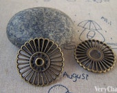 10 pcs of Antique Bronze Filigree Round Flower Connectors Charms 26mm A5421