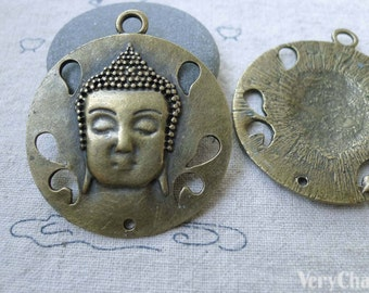 5 pcs of Antique Bronze Buddha Head Pendants Charms 42mm A7635