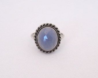 Vintage Sterling Silver Faceted Light Purple Stone Ring Size 6.75