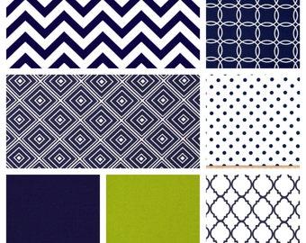 Custom Baby Boy Bedding - Blanket, Sheet and Crib Skirt in Geometrics, Chevrons, Navy and Lime