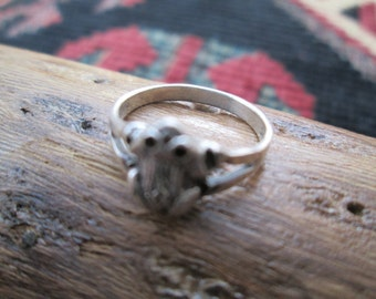 Sterling Frog Ring Size 4