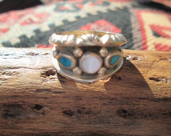 Turquoise, Mother of Pearl and Sterling Silver Band Man's Ring Size 11
