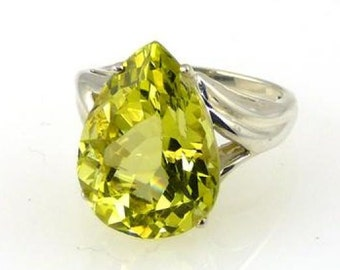 Natural Bolivian Lemon Citrine Ring 925 Sterling Silver 11.00CT