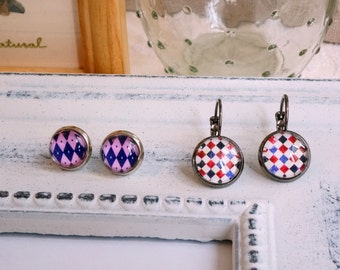 Gunmetal leverback earrings Silver plated stud earrings set 2 pairs Gift idea Glass cabochon Checker print