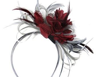 Grey Silver & Burgundy Fascinator on Headband AliceBand UK Wedding Ascot Races Loop