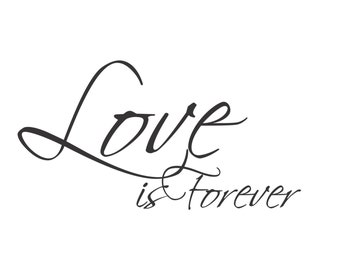 Love is Forever - Large Vinyl Wall Decal Sticker - Matte Black or White - V-Series Decal