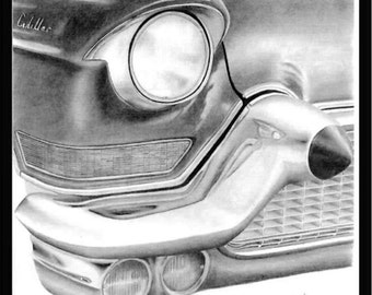 Pencil drawing of the front headlight and bumper of a 1957 Cadillac