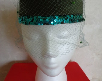 VINTAGE AQUA NETTED Hat with Sequined Rimming (#0643)