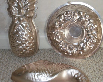 Vintage JELL-O MOLDS are made of ALUMINUM and are Pinkish in Color #139
