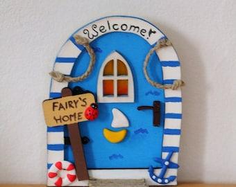 Nautical Sea Beach Sailor Fairy Door, Elf Door, Gnome door, magic + GIFT (fairy stone) to look the fairies