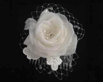 Handmade Silk Rose on Comb Barrette with Lace and Beads