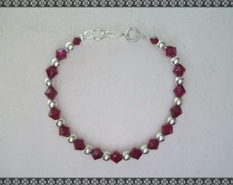 red bracelet, red crystal bracelet, swarovski bracelet