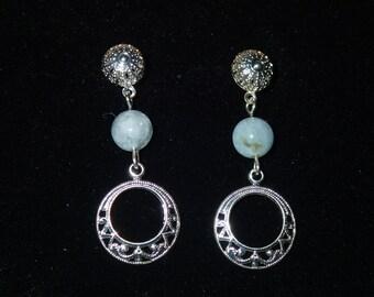 Light Blue Circle Drop Earrings