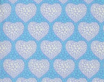 RJR Fabrics Mary McGuire Grace 1703 02 Hearts on Blue Yardage