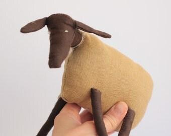 Handmade sheep, Suffolk sheep, folk, eco friendly, ooak, cotton toy, beige, brown, art doll, stuffed animal, perfect small gift