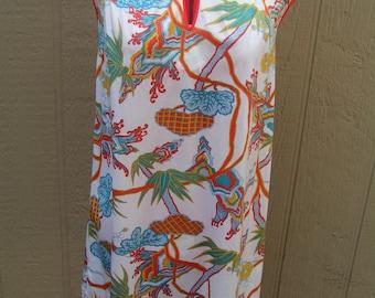 Vintage Vanity Fair Retro Asian Design Nightie Nightgown Nighty Lingerie Size Petite