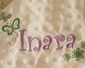 Personalized Embroidered Minky Baby Blanket /Baby Girl /  butterflies and flowers / Name or Monogram