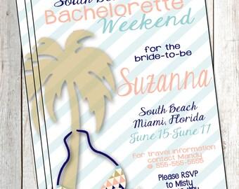 Beach Bachelorette Invitation Bachelorette Trip Invitation