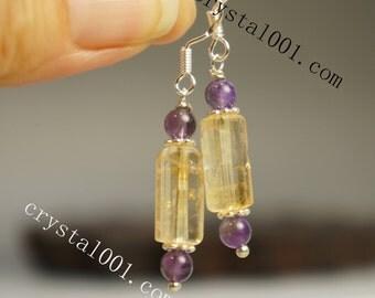 Handmade natural citrine amethyst vintage style earrings dangle 925 sterling silver earrings