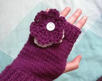 Purple Flower Gloves, Flower Accessories, Gloves and Flowers, Purple Knit Gloves, Purple Wool Gloves, Purple Yarn Gloves, Knit Gloves