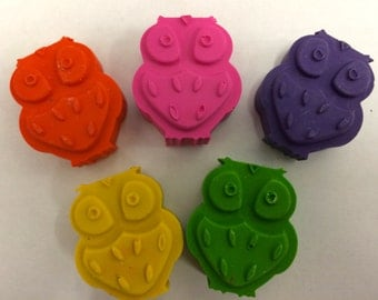 5  Woodland Owl  Crayons -  Birthday Party Favors