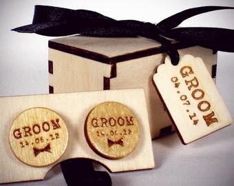 Wedding Cuff Links - Custom Engraved in Wooden Gift Box