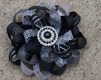 Grey Black Hairbow Double Layered Boutique Bow and Interchangeable Headband Newborn Toddler Older Girl
