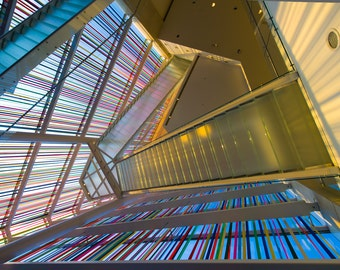MMoCA Madison Museum of Contemporary Art - Stairwell -  Color Photography Print - Photography - Stairs and Ribbons
