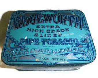 Art Deco Tobacco Tin EDGEWORTH Pipe Tobacco Blue Decor 1920s Advertising Box Turquoise Tobacciana Smoker Manly Gift Lithograph Tobacco Tin
