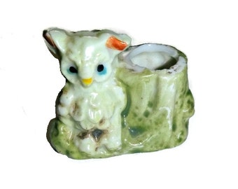 VIintage Owl Tooth Pick Holder Figurine Japan Porcelain Whimsical Collectible Ceramic Statue Kitschy Kitchen Home Decor Owl Lover Gift 1950s