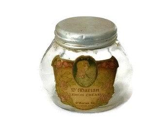 RARE Antique Face Cream Jar 1900s Edwardian Cosmetics Art Nouveau Glass Bottle Vintage Downton Vanity Beauty Boudoir Decor Lemon Cream Gift