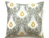 Ikat Pillows, 16x16 Pillow Cover, Gray Decorative Pillows, Gold Throw Pillow, Ikat Pillow Covers,  Cushion Cover, Creme de la Creme
