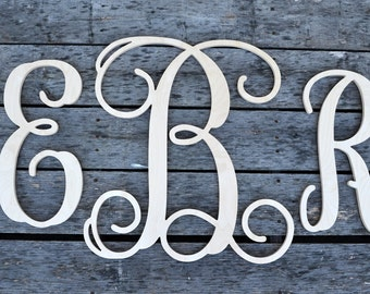 Wooden Monogram- Nursery Decor- Wooden Letters- Vine Script Wooden Monogram- Large Wooden Letters- Wedding Monogram